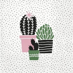 Servítky na dekupáž Cactus on Dots rose - 1 ks